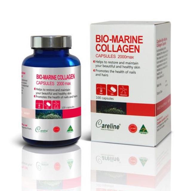 Viên uống đẹp da Bio - marine Collagen Careline hộp 100v của Úc