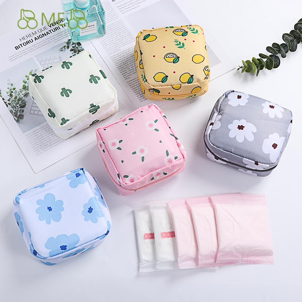 ME Women Girls Sanitary Pad Pouch Napkin Coin Purse Tampon Storage Bag Headphone Case Credit Card Holder Makeup Organizer Cosmetics Cotton Napkin Towel Sanitary Pouch
