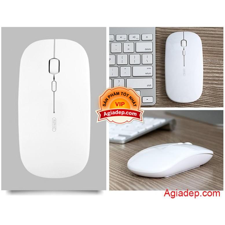 Chuột Không dây Pin sạc xịn cho Máy tính, Laptop, Macbook M1 nhỏ, Siêu mỏng, Siêu nhẹ (Trắng) vừa tay phụ nữ, trẻ em