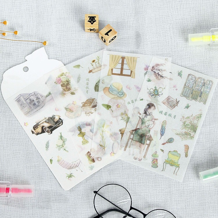 Hình Dán Sticker Trang Trí Sổ Tay Dụng Cụ Làm Bullet Journal Decor Vintage Cổ Trang Xinh ST6