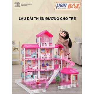 Nhà búp bê cỡ lớn cho trẻ – Mô hình nhà bao gồm nội thất lắp ráp tùy biến theo ý của trẻ