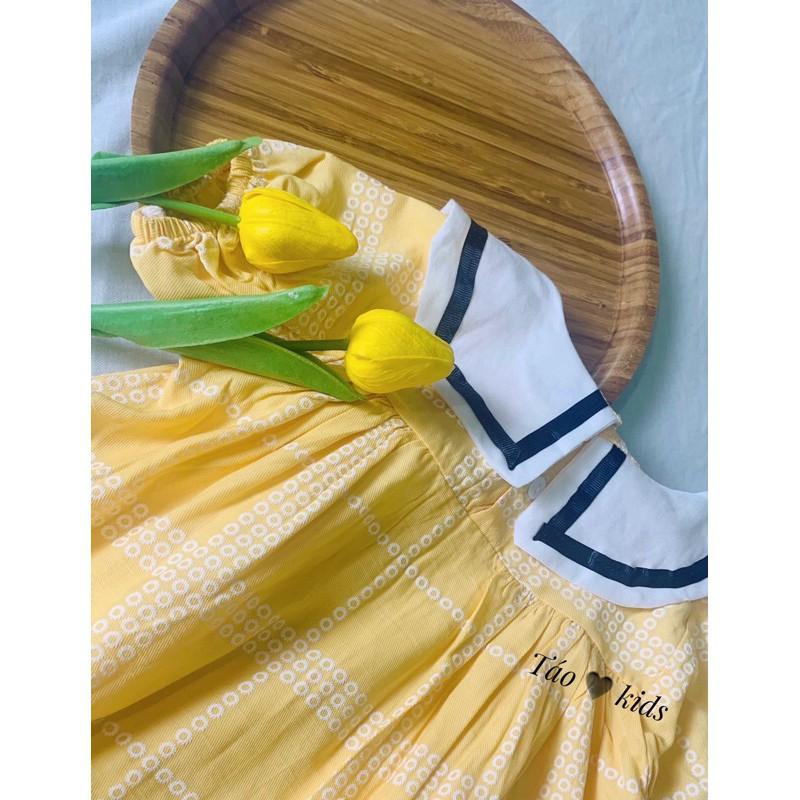 Váy Cho Bé Cổ Vuông Chất Thô Đũi Vàng