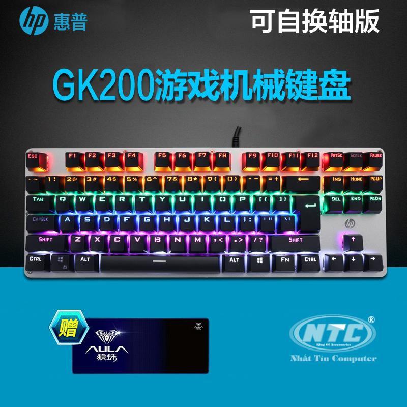 Bàn phím cơ Blue Swich HP GK200S loại 87 phím, led RGB nhiều chế độ (đen bạc)