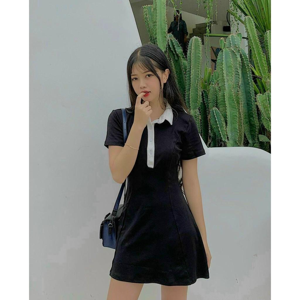 Mặc gì đẹp: Siêu xinh với [Mã 1010FASHIONSALE2 giảm 10K đơn 50K] 💃 Đầm Polo Nữ Đen Dáng Ôm Váy Nữ Ngắn Body Ngắn