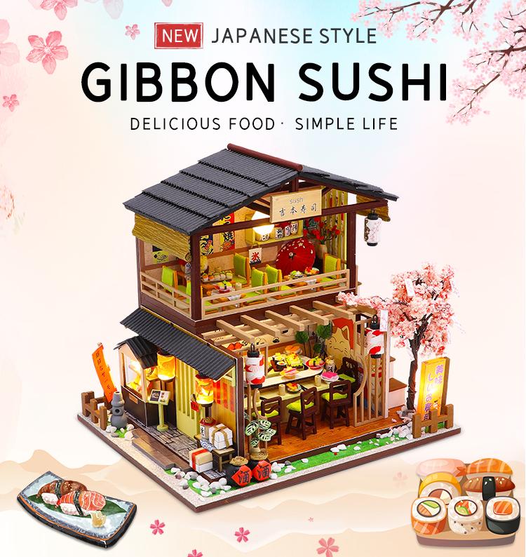 Mô hình nhà búp bê lắp ghép bằng gỗ Mẫu Gibbon Sushi có đèn Led sử dụng pin AAA tặng kèm Cót nhạc, dụng cụ lắp ghép