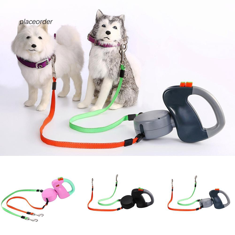 PEOD_Dual Traction Ropes in One Design Auto Telescopic Puppy Dog Pet Walking Leash