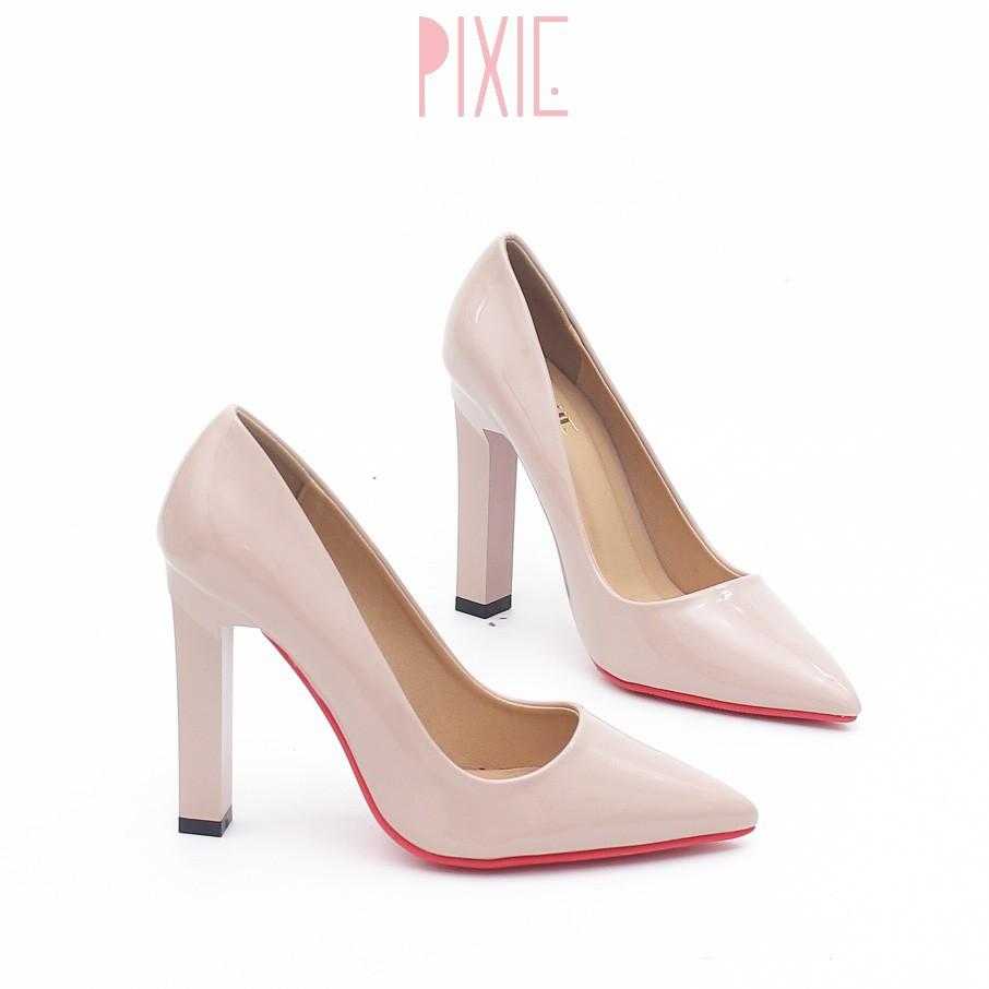 Giày Cao Gót 10cm Da Bóng Đế Vuông Pixie P250