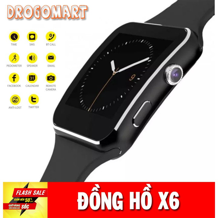 ( FREESHIP 99K ) Đồng hồ thông minh x6 Màn hình cong cao cấp Hỗ trợ sim nghe gọi Bảo Hành 6 tháng