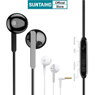 SUNTAIHO Quality Wired Earphone HIFI with microphone Universal 3.5mm L jack for oppo android iphone