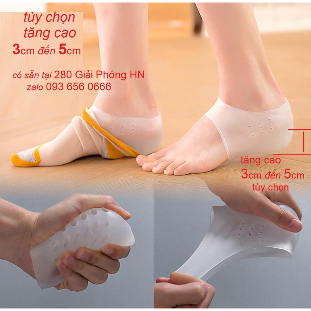 Lót giày tăng chiều cao, miếng đệm gót chân silicon giúp tăng chiều cao, không lộ liễu, êm chân, độn giày