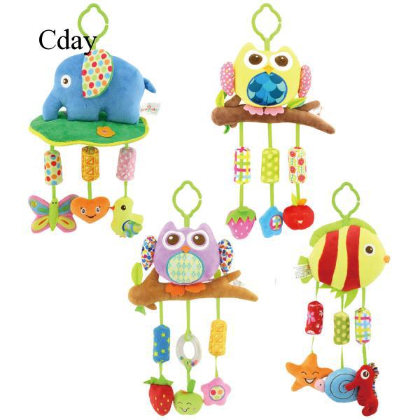 Cday Cartoon Cute Animal Plush Baby Hanging Bells Toy Clip On Carriage Crib Bed