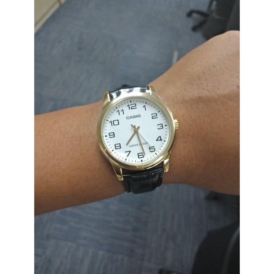 Đồng hồ nam Casio MTP-V001GL-7B Chính Hãng - Mặt số viền vàng - Dây Da - Chống nước