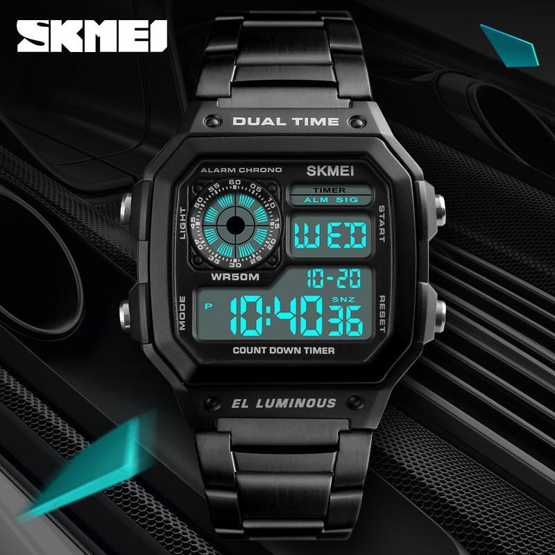 ĐỒNG HỒ NAM SKMIE ĐIỆN TỬ MẶT VUÔNG - DÂY THÉP [FULL BOX CHÍNH HÃNG] Đồng hồ kim-điện tử