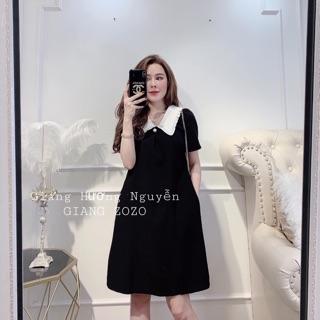 Váy Suông Bầu Dáng Chữ A Cổ Trắng Đính Ngọc