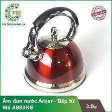 Ấm đun nước siêu tốc inox dành cho bếp từ ArBer AB03NB mầu xanh , đỏ - Dung tích 03 Lít