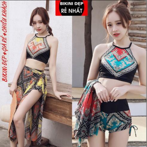 Áo tắm nữ Hàn Quốc gió nhỏ ngực tập hợp bikini Xiêm gợi cảm bảo thủ che bụng giảm béo mùa xuân bơi lội