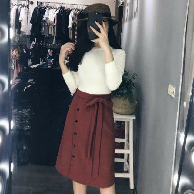Set váy đỏ áo thun gân (kèm hình thật)