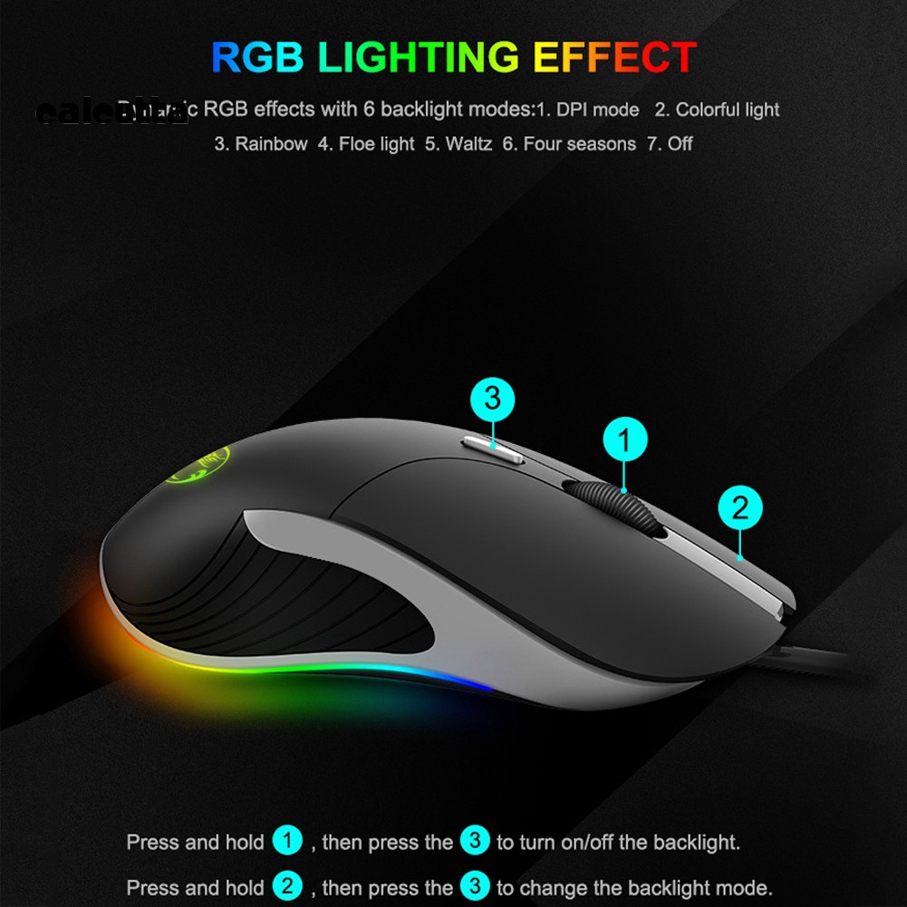 ✡YYJ✡iMICE X6 Ergonomic 6 Buttons RGB Breathing Light Wired Gaming Mouse for Laptop