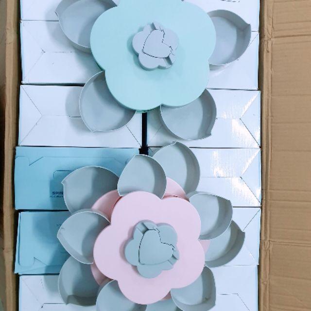 Khay đựng mứt tết canh hoa xoay xòe tiện lợi 2 loại , 1 tầng và 2 tầng