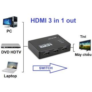 [Mã ELFLASH5 giảm 20K đơn 50K] Bộ gộp HDMI 3 vào 1 cho Tivi, Máy chiếu