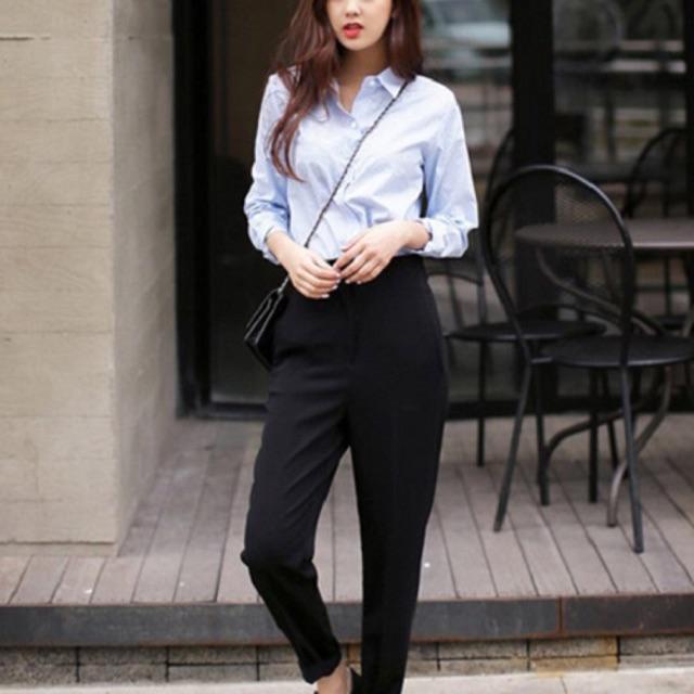 Combo áo sơmi + quần baggy công sở