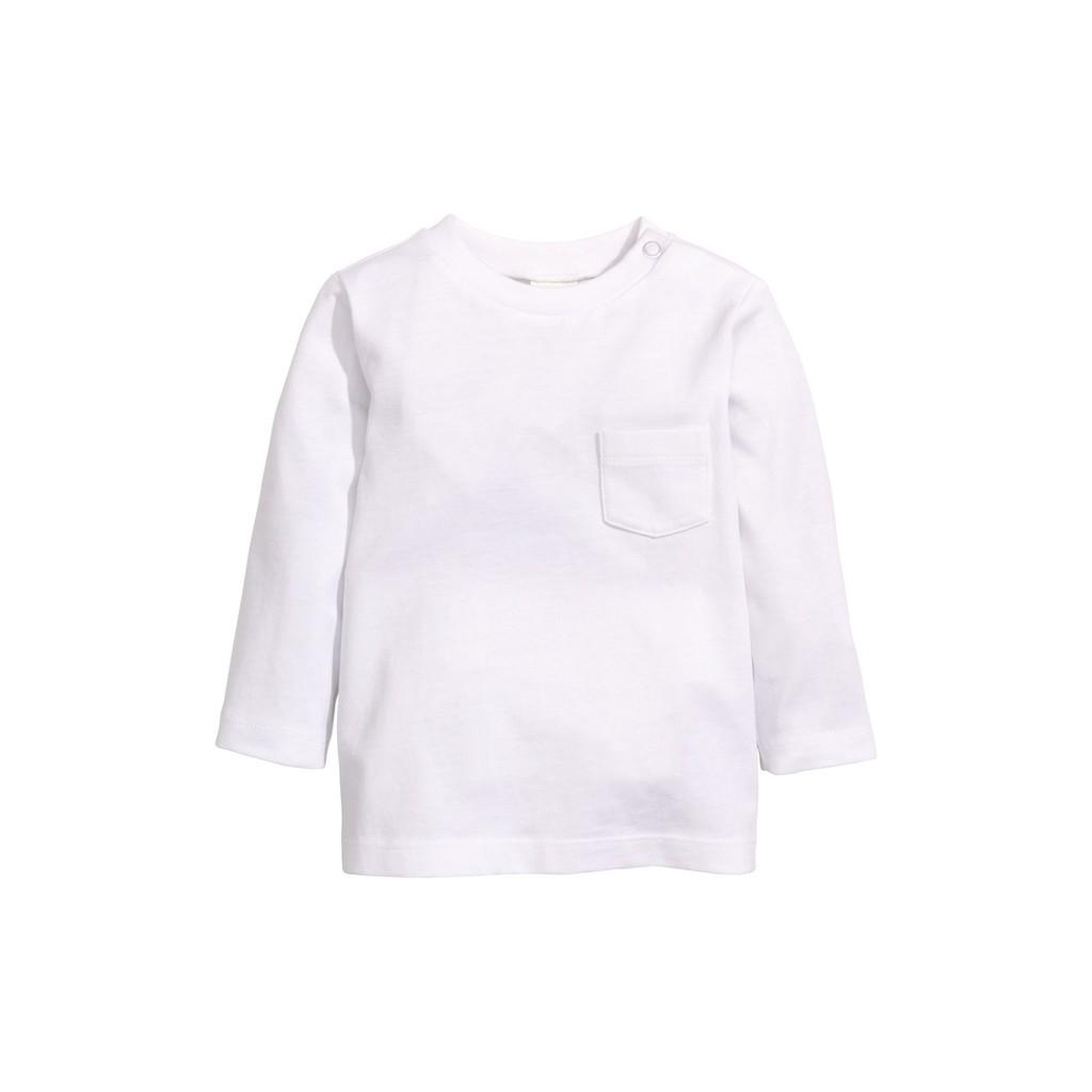 Áo cotton trắng dài tay H&M HM size 2-4 tháng_ hàng xách tay Anh