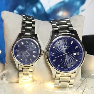 Đồng Hồ nam nữ Longnes mặt xanh Dây Thép  Size nam 38mm size nữ 28mm Kính Sapphire phong cách sang  bảo hành 12 tháng