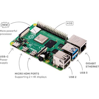 tặng case bảo vệ mạch – Raspberry Pi 4 Model B Rev1.2, Ram 4Gb, Made in UK