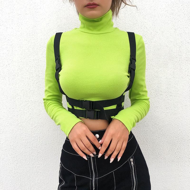 Fashion Women Slim Buckle Plain Crop Top High Neck Long Sleeve Casual Street Tshirt