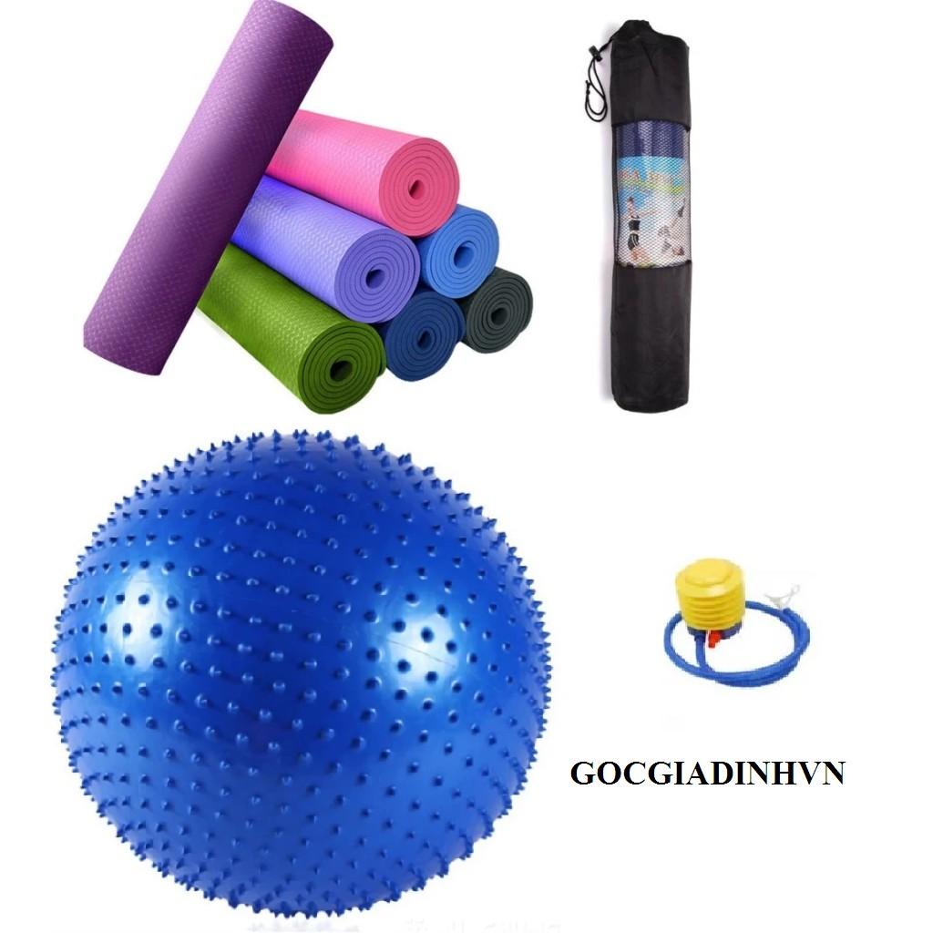 Bộ thảm tập yoga 6mm tặng túi+ bóng tập yoga+ bơm