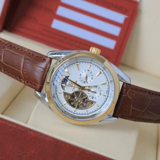 Đồng hồ cơ nam dây da cao cấp Tevise T795 full box, mặt kính sapphire chống xước, chống nước, bảo hành 03 năm
