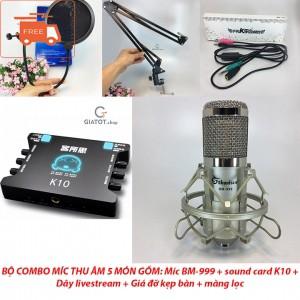 Bộ míc thu âm cao cấp BM999 + sound card K10 + dây livestream + Kẹp đỡ để bàn và màng lọc - 3299947 , 558399485 , 322_558399485 , 1800000 , Bo-mic-thu-am-cao-cap-BM999-sound-card-K10-day-livestream-Kep-do-de-ban-va-mang-loc-322_558399485 , shopee.vn , Bộ míc thu âm cao cấp BM999 + sound card K10 + dây livestream + Kẹp đỡ để bàn và màng lọc