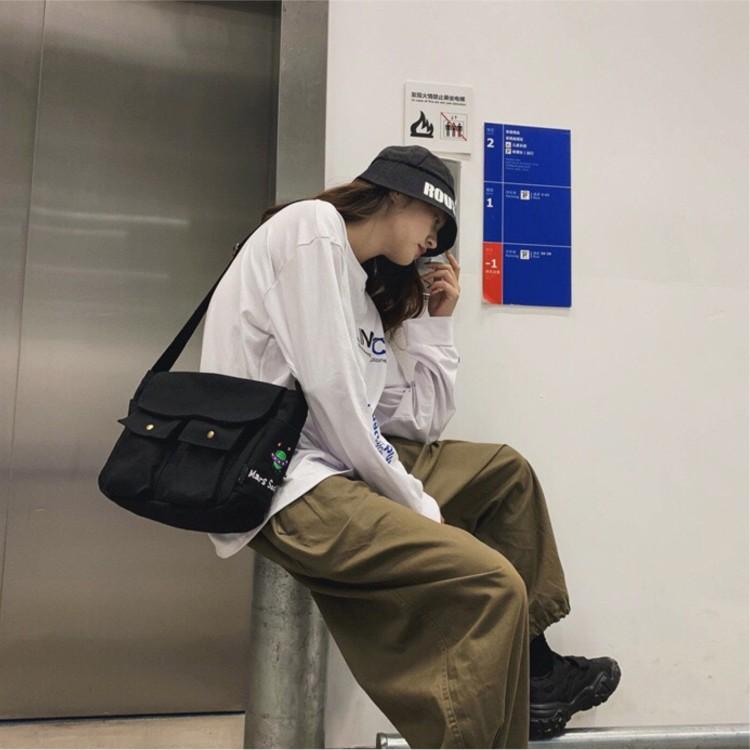 Túi Tote Đeo Chéo Unisex Cao Cấp Phong Cách Hàn Quốc Size To Đựng Vừa Sách vở, A4 vải mềm