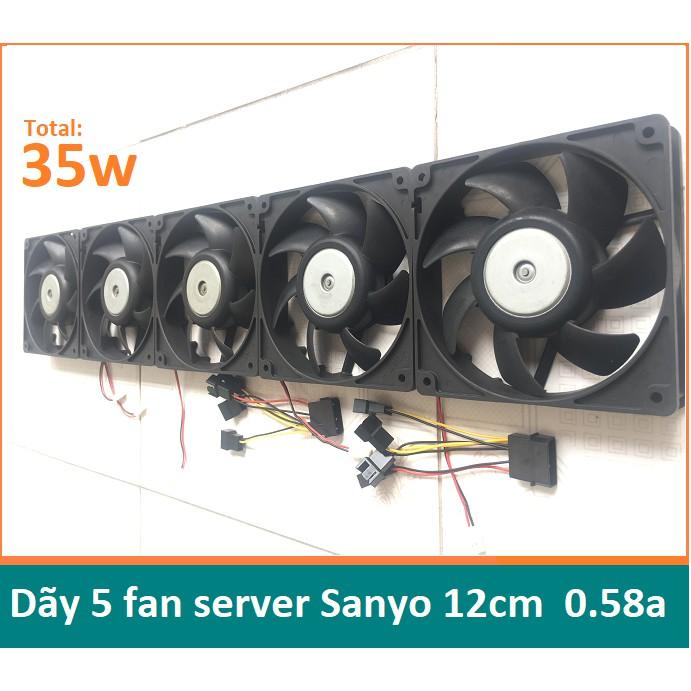 Dãy 5 quạt bi server Sanyo 12cm 0.58a công suất 35w, chiều dài 60cm, fan 12v tháo máy bộ