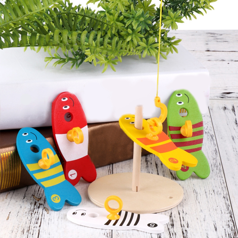 8pcs RFID Blocking Digital Column Ringtoss Outdoor For Children Fishing Toy Early Education Model Play Wooden Montessori