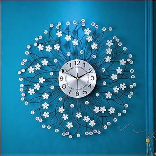 Đồng hồ trang trí treo tường hoa đính đá cao cấp\