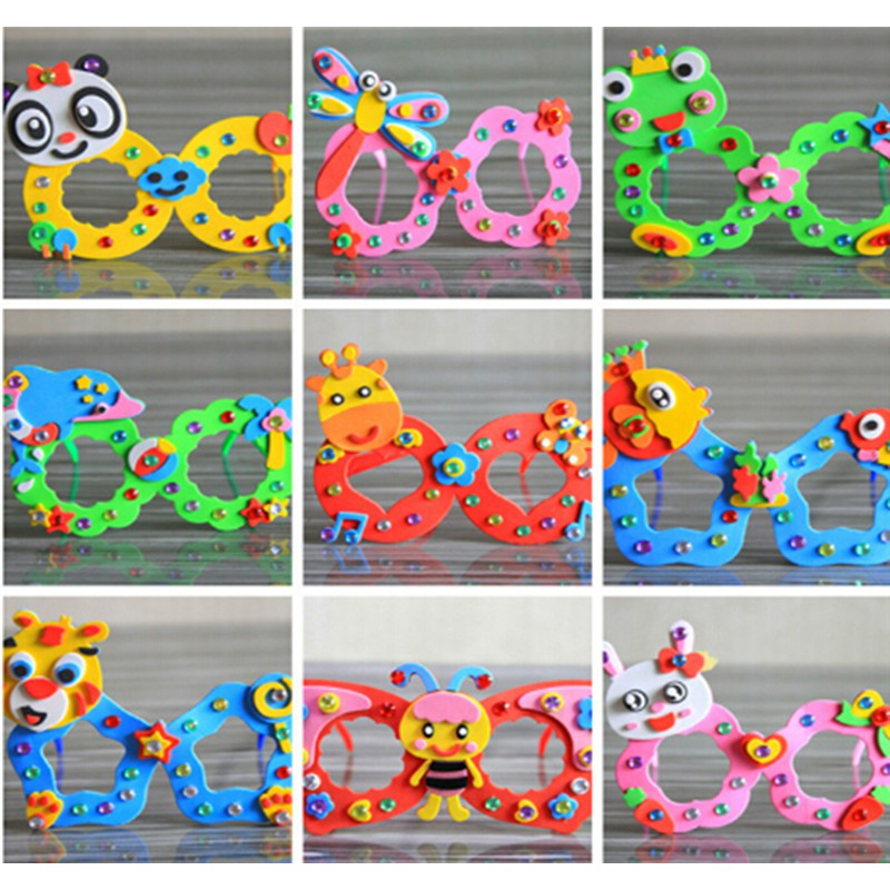 Cartoon Eva Sticker Glasses DIY Craft Kindergarten Educational Toys Kids Gift