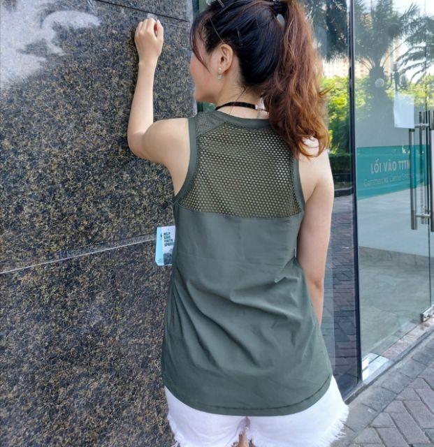 Mặc gì đẹp: Năng động với Áo tập gym, yoga, zumba nữ tank top DSG phối lưới xuất dư xịn