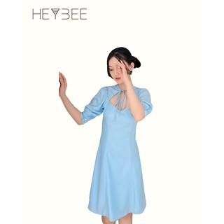 Đầm lụa chữ A HEYBEE cột nơ kiểu, tay ngắn phồng màu xanh Jasmin Dress HT559 thumbnail