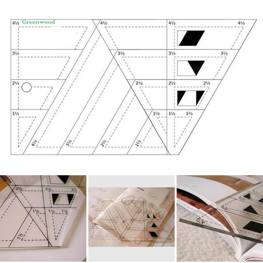 GREEN   Shape Measure Trapezoid Patchwork Ruler DIY Quilting Tailor Sewing Craft Tool