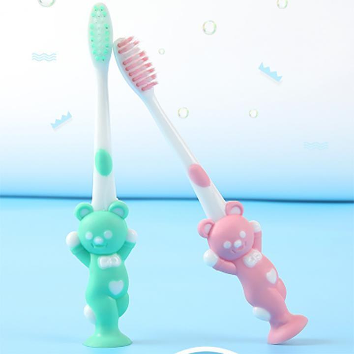 Combo 4 chiếc bàn chải đánh răng cho bé hình gấu siêu cute với 4 màu khác nhau có bọc bảo vệ đầu tiện lợi