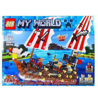 Bộ Lego Xếp Hình MineCraft My World Tàu Hải Tặc. Gồm 386 Chi Tiết. Lego Ninjago Lắp Ráp Đồ Chơi Cho Bé