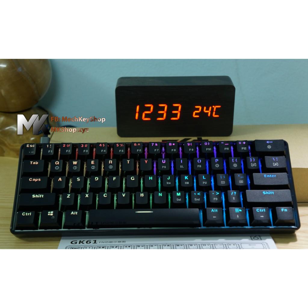 Bàn phím cơ GK61 - Bản RGB, Chống nước, Gateron switch quang học