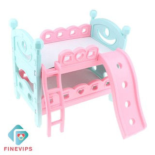 Finevips Dollhouse Miniature Bunk Bed Furniture Toy