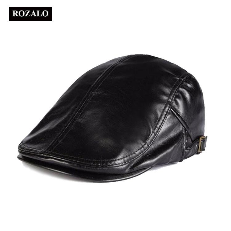 Mũ da nam Beret nam hàn quốc Rozalo RM13307BL - Màu đen