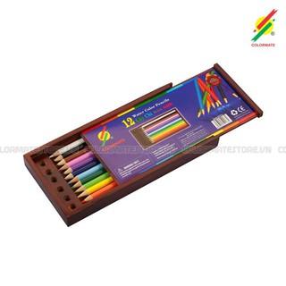 Hộp gỗ 12 cây bút chì màu nước