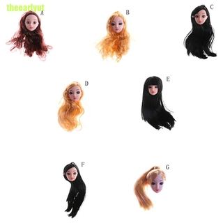 theearlyut Quality Doll Head with Colorized straight Hair DIY Accessories For Barbie 0 0 0 0 0