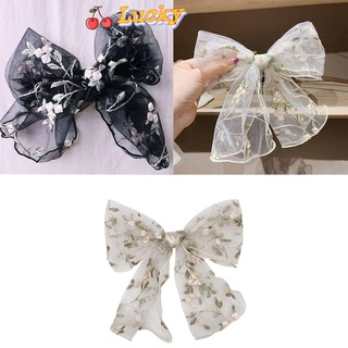LUCKY🔆 Girl Bow Hair Clip Woman Headwear Lace Hairpin Gift Ribbon Large Embroidery Flowers Hair Rope