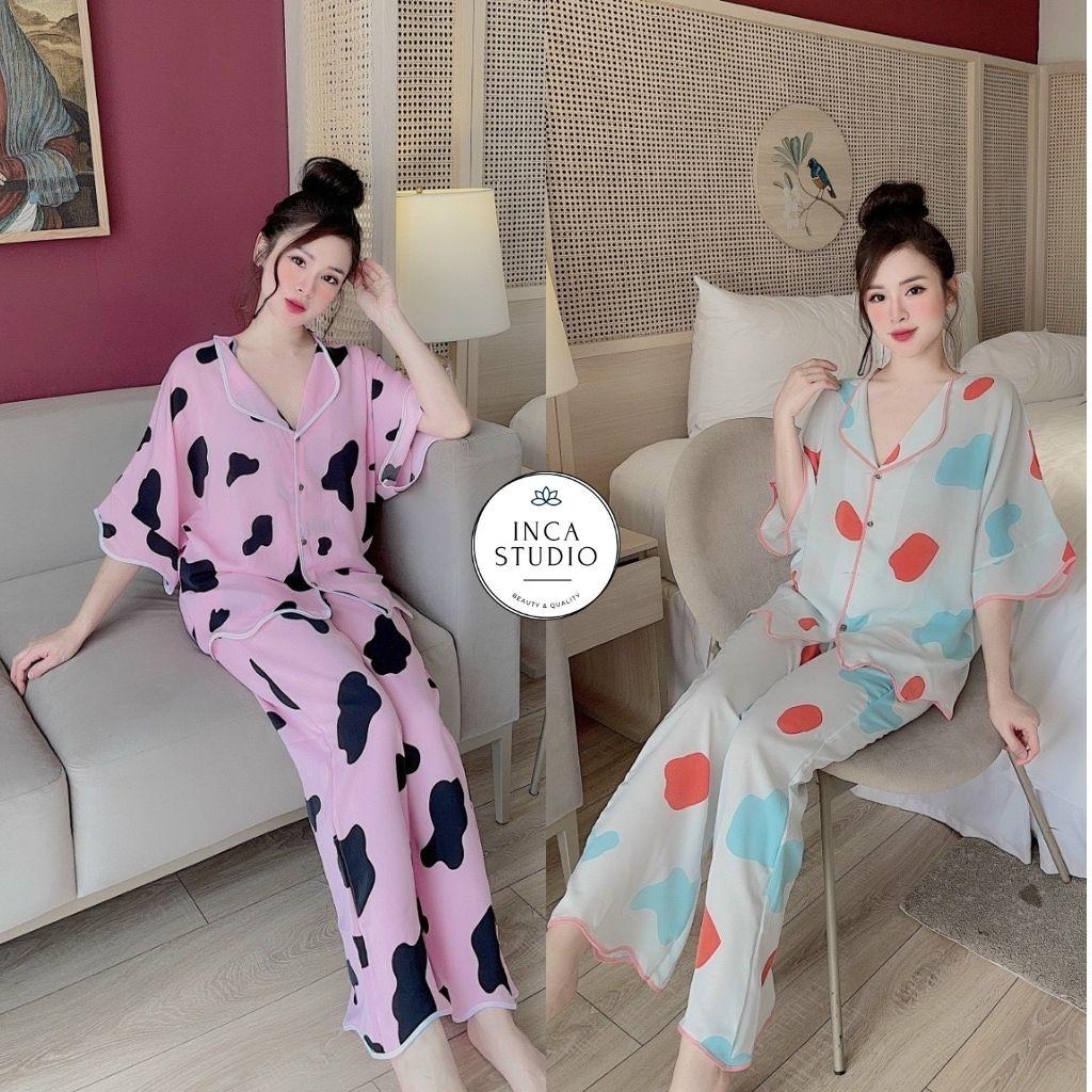 Mặc gì đẹp: Ngủ ngon hơn với (Cam kết loại 1) Đồ ngủ Pyjama lụa mango họa tiết cao cấp INCA05- Free size dưới 65kg, Lụa mango thoáng mát