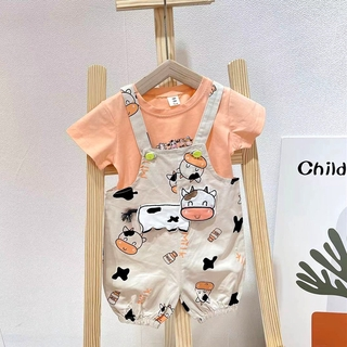 Summer New Kids Boys and Girls Cartoon Cow Pattern Overall Pants +T-Shirt